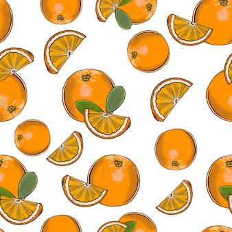 Vintage naadloze patroon met sinaasappels.