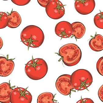 Vintage naadloze patroon met tomaten.
