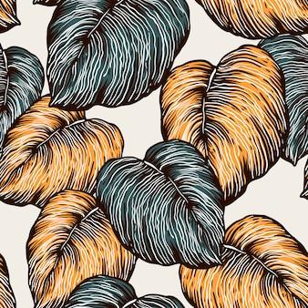 Vintage naadloze patroon van tropische bladeren.