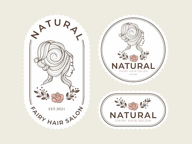 Vintage natuurlijke schoonheid logo sjabloon