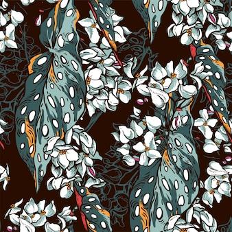 Vintage natuurlijke tropische naadloze patroon met bloeiende begonia maculata