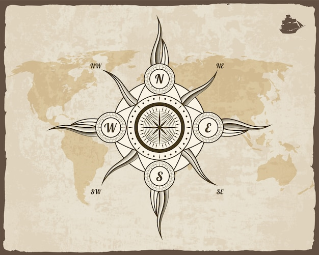 Vintage nautisch kompas. oude wereldkaart op papier textuur met grunge grenskader. wind roos.