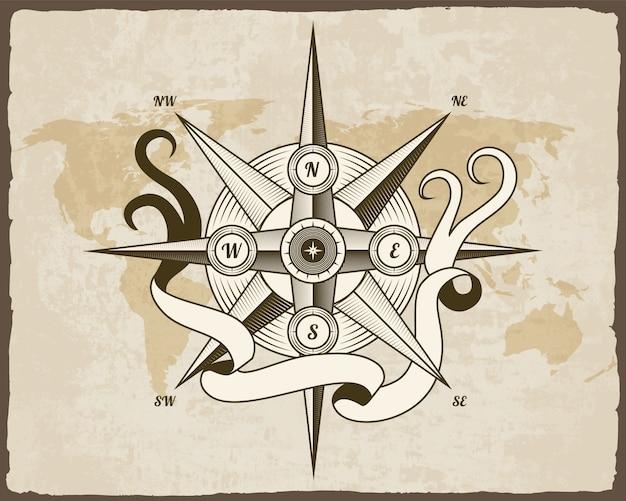 Vintage nautisch kompas. oude wereldkaart. wind roos