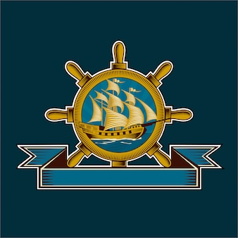 Vintage nautische badge illustratie