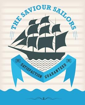 Vintage nautische embleem met zeilschip