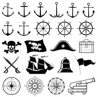 Vintage nautische, marine, marine, pirate vector iconen
