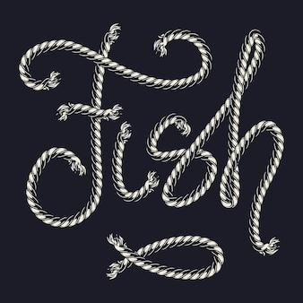 Vintage nautische patroonpenseel met touw vis inscriptie geïsoleerd