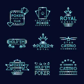 Vintage neon hipster pokerclub en casino borden. koninklijk gokken spel, risico en kans, vectorillustratie
