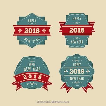 Vintage nieuwjaar 2018 badge collectie in blauw en rood