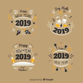 Vintage nieuwjaar 2019 badges collectie
