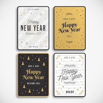 Vintage nieuwjaar 2021 kaarten sjabloon