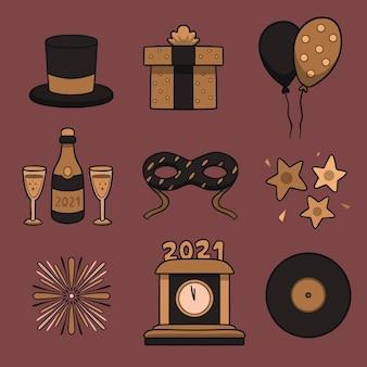 Vintage nieuwjaar partij element collectie