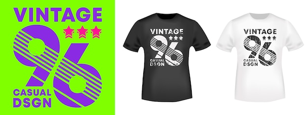 Vintage nummer 96 t-shirt print stempel