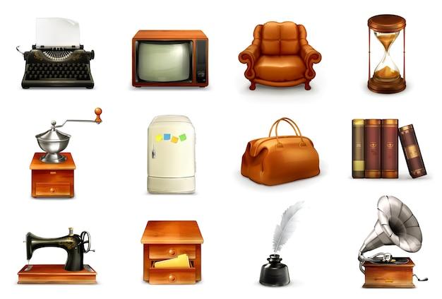 Vintage objecten illustratie set