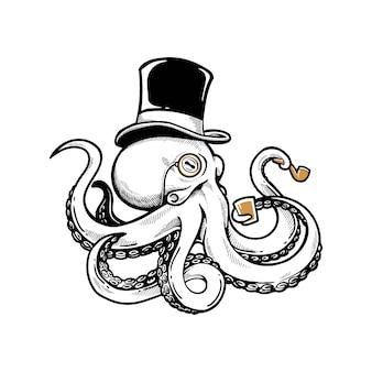 Vintage octopus whit hat logo icoon