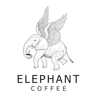 Vintage olifant koffie logo ontwerp