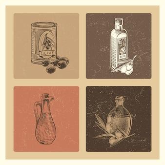 Vintage olijfolie illustraties set