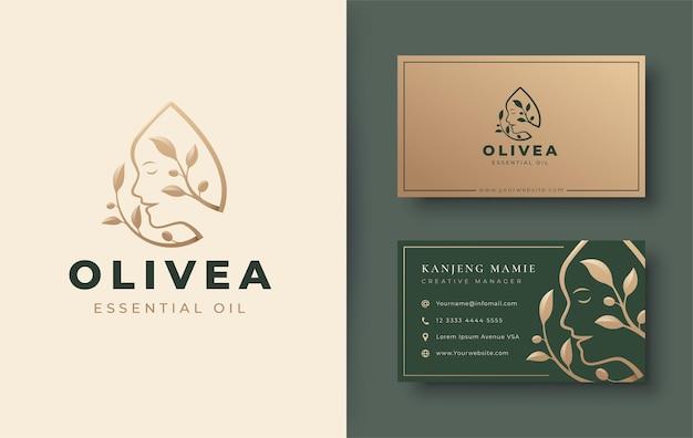 Vintage olijfolie met logo voor vrouwengezicht en visitekaartjeontwerp
