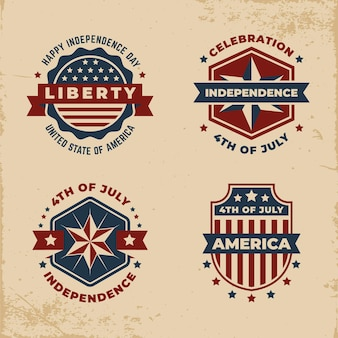 Vintage onafhankelijkheidsdag label set
