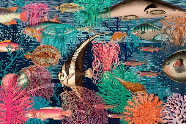 Vintage onderwaterpatroonachtergrond, geremixt van kunstwerken uit het publieke domein