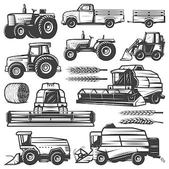 Vintage oogst transport collectie met vrachtwagen trekkers lader combineert oogstmachines hooibaal tarwe oren geïsoleerd