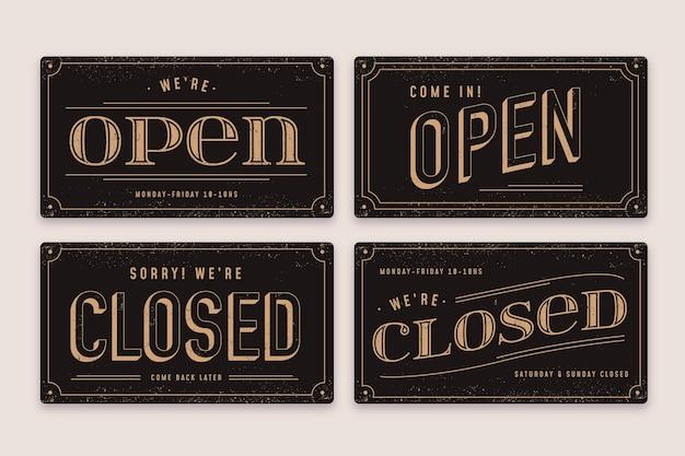 Vintage open en gesloten uithangbord set