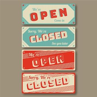 Vintage open en gesloten uithangbordcollectie
