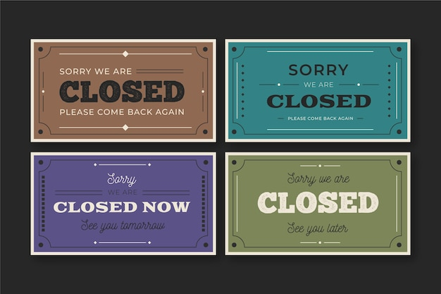 Vintage open en gesloten uithangbordpakket