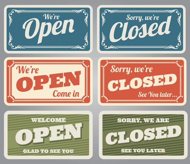 Vintage open en gesloten winkeltekens