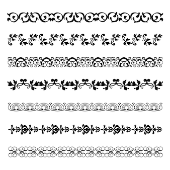 Vintage ornament divider linedecoration floral vector