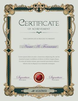 Vintage ornament frame certificaat van voltooiing
