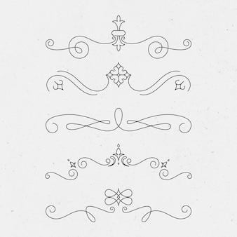 Vintage ornament vector set in zwart