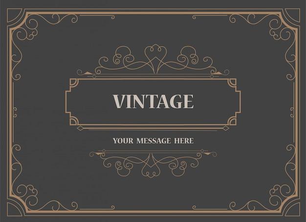 Vintage ornament wenskaartsjabloon en retro uitnodiging achtergrond