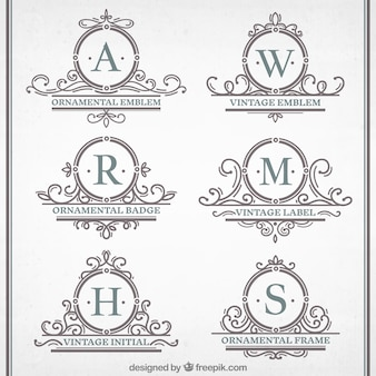 Vintage ornamental emblemen collection