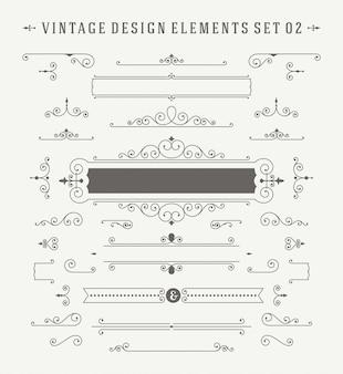 Vintage ornamenten decoraties ontwerpset elementen.