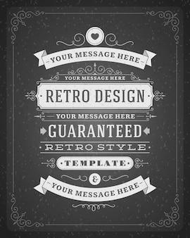 Vintage ornamenten wervelingen en schuift decoraties met typografische