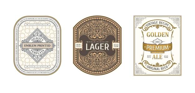 Vintage ornamentframes voor etiketten bierflesjes en blikjes