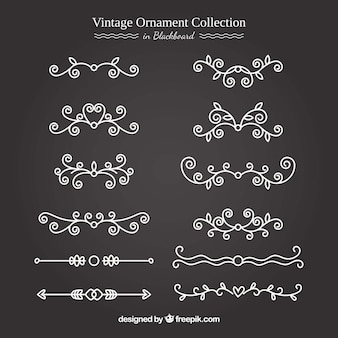 Vintage ornamentinzameling met bordstijl
