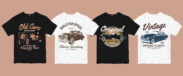 Vintage oude auto's t-shirtbundel