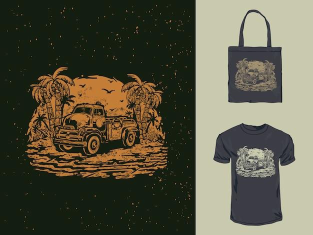 Vintage oude badmeester auto t-shirt ontwerp illustratie