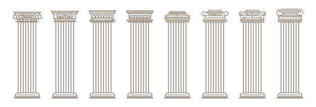 Vintage oude elegante klassieke romeinse griekse architectuur lijn kolommen pilaren silhouet