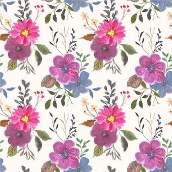 Vintage paarse bloem aquarel naadloos patroon