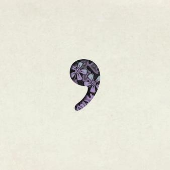 Vintage paarse komma symbool typografie