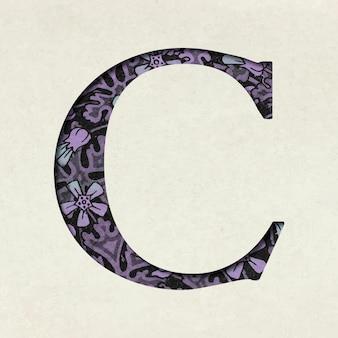 Vintage paarse letter c typografie