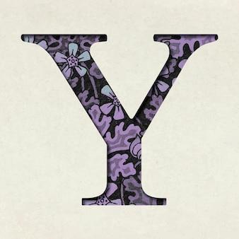 Vintage paarse letter y typografie