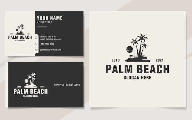 Vintage palm beach logo sjabloon monogram stijl