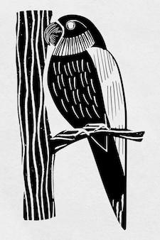 Vintage papegaai vogel hand getekende clipart