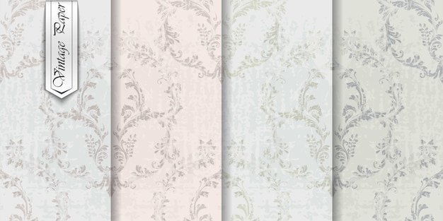 Vintage papier ornament set collectie, koninklijke victoriaanse stof