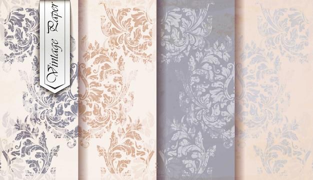 Vintage papieren damast patroon set, barok ornament
