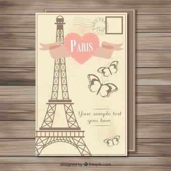 Vintage parijs briefkaartsjabloon